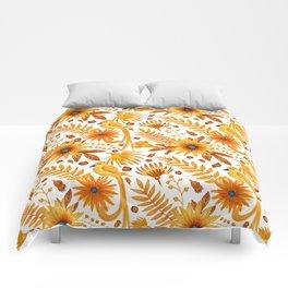 Sunshine yellow orange blue brown watercolor bird floral Comforters
