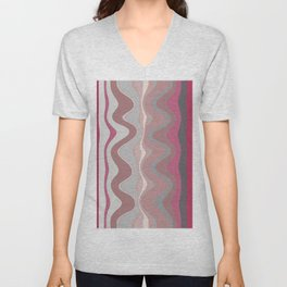 Distorted stripes in colour 4 Unisex V-Neck