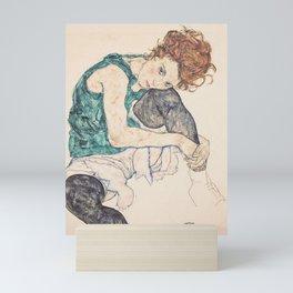 SEATED WOMAN WITH BENT KNEE - EGON SCHIELE Mini Art Print
