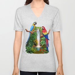 Macaw Tropical Parrots Unisex V-Neck