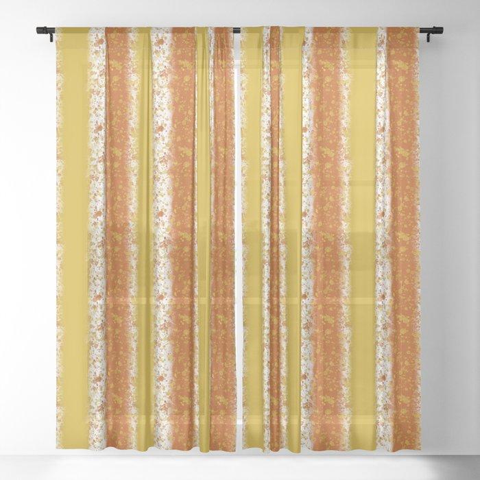 Mustard And Burnt Orange Sheer Curtain