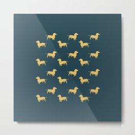 Dachshund Pattern - Blue/Yellow Metal Print