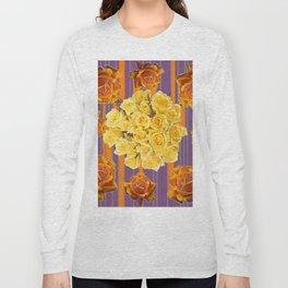 YELLOW ROSES PUCE STRIPE PATTERN Long Sleeve T-shirt