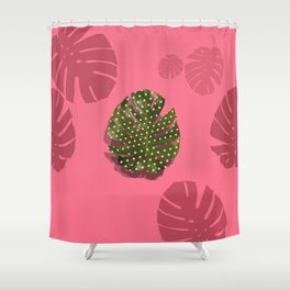 """""""Moss green leaf and pink flamenco polka dots"""" Shower Curtain"""