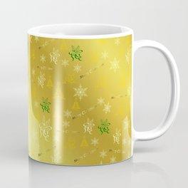 gold Merry christmas text in gold, beautiful reindeer, green fir trees, bright stars festive Coffee Mug