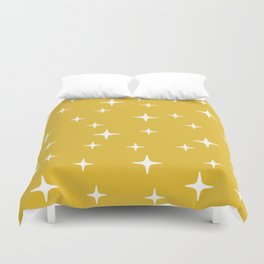 Mid Century Modern Star Pattern 443 Mustard Yellow Duvet Cover