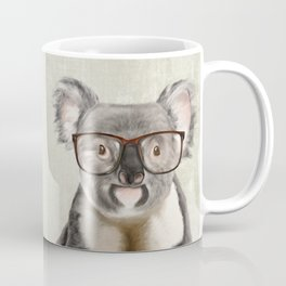 A baby koala with glasses on a rustic background Coffee Mug