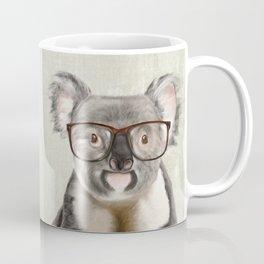 A baby koala with glasses on a rustic background Coffee Mug