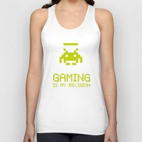 religion Tank Tops featuring Gaming is my religion by Lily's Factory