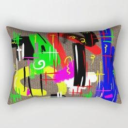 Bad Graffiti - Rainbow coloured, graffiti paint on a brick wall Rectangular Pillow