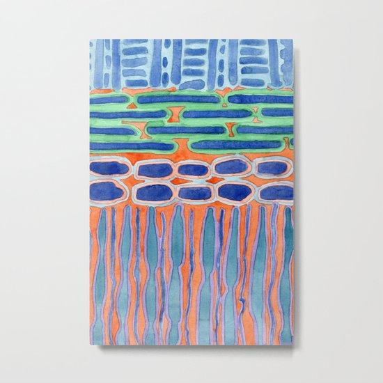 Blue Shapes Pattern Metal Print