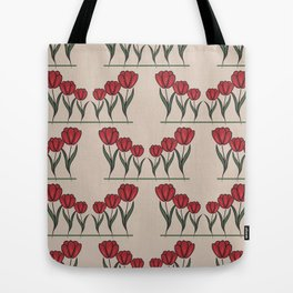 beige seamless pattern with many red tulip Tote Bag