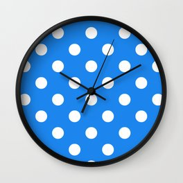 Polka Dots - White on Dodger Blue Wall Clock