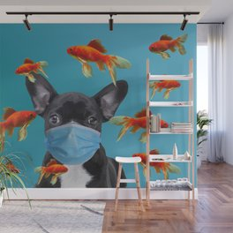 French Bulldog with Mask - Goldfishes #frenchie #mask Wall Mural