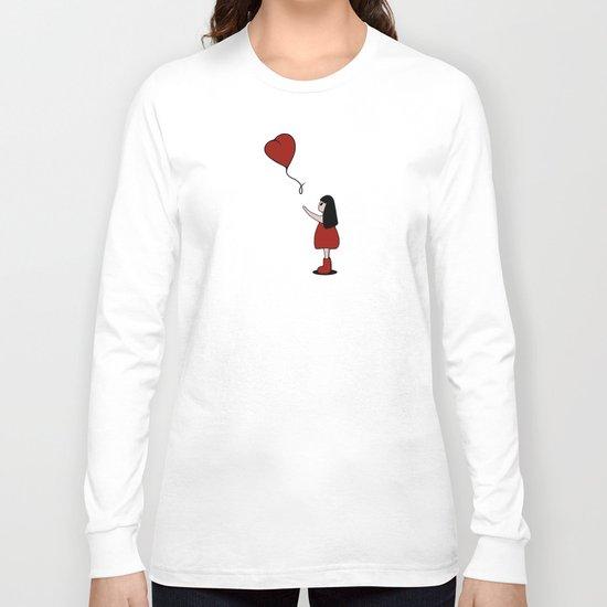 Girl with a Heart-Shaped Balloon Long Sleeve T-shirt