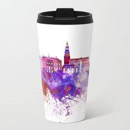 Groningen skyline in watercolor background Travel Mug