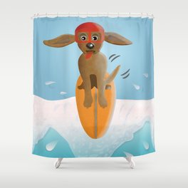 Surf Dog on Top of the Wave Shower Curtain