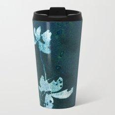 Blue Floral Metal Travel Mug