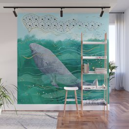 Blue Whale Song in the Emerald Ocean Wall Mural
