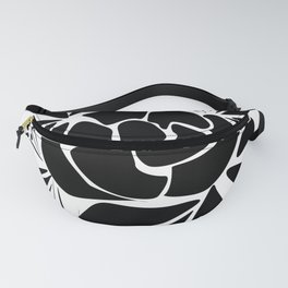 Black and white stencil flower 1 Fanny Pack
