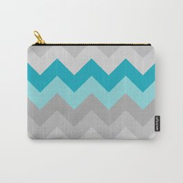 Teal Turquoise Blue Grey Gray Chevron Ombre Fade Carry-All Pouch