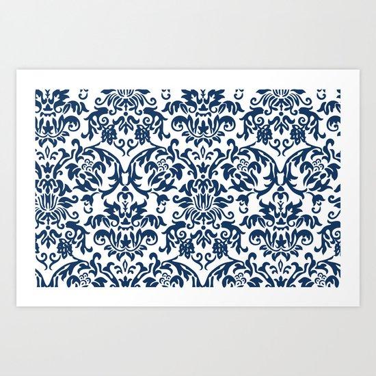 Elegant Damask Pattern (navy) Art Print