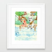 animal crossing Framed Art Prints featuring Animal Crossing tribute by Luchie