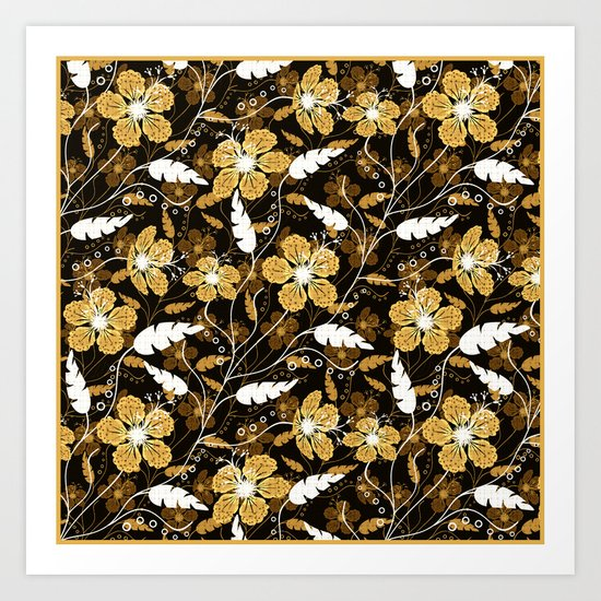 Abstract,floral pattern. Golden flowers on a black background. Art Print