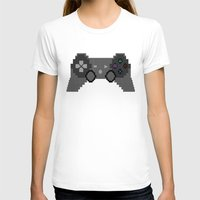 video game T-shirts featuring Pixelized Video Game Controller by Merr Peng