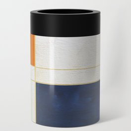 Orange, Blue And White With Golden Lines Abstract Painting Can Cooler