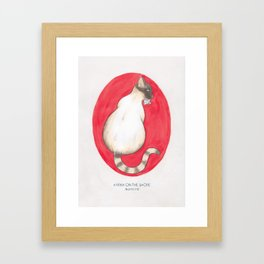 Haruki Murakami's Kafka on the Shore // Illustration of a Siamese Cat with a Fish in her Mouth in Pe Framed Art Print