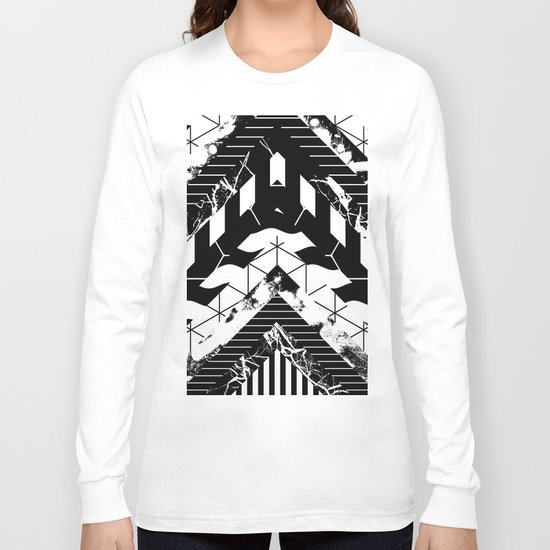 Layered (Black and white, abstract, geometric designs) Long Sleeve T-shirt