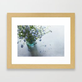 Forget-me-not bouquet in Blue jar Framed Art Print