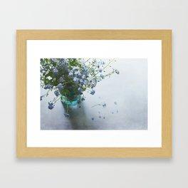 Forget-me-not bouquet in Blue jar Framed Art Print