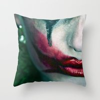 the joker Throw Pillows featuring Joker by Imustbedead