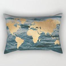 Gold Map in Water Rectangular Pillow