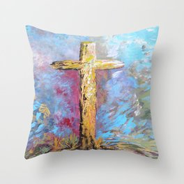 Colors of the Cross Throw Pillow