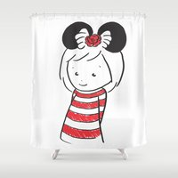 minnie mouse Shower Curtains featuring Minnie 4 by Little Moon Dance