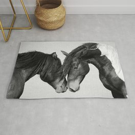 Horses - Black & White 4 Rug