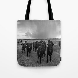 Hanging Out - Black and White Photo of Cows in Kansas Tote Bag