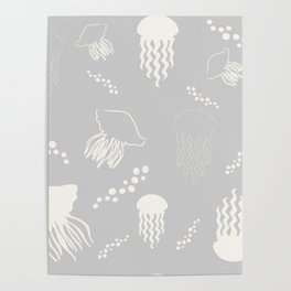 Jellyfish grey Poster