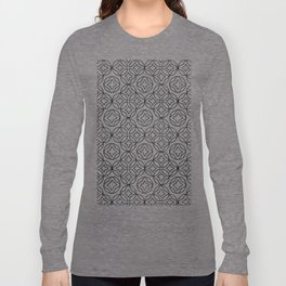 Ancient Pattern Illustration in Blue Long Sleeve T-shirt