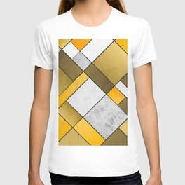 Abstract Art Print - Q Gold, Yellow, Brown, Grey Color Composition T-shirt