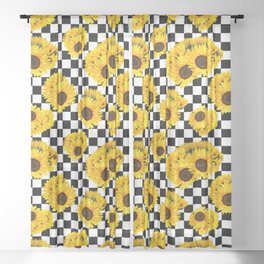 Yellow Sunflower Floral with Black and White Checkered Summer Print Sheer Curtain