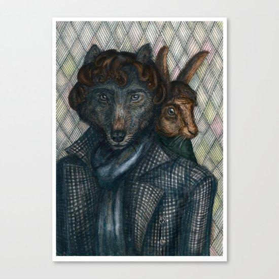 Sherlock Wolf and Dr. Rabbit Canvas Print