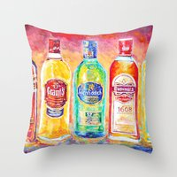 whiskey Throw Pillows featuring Whiskey by LiliyaChernaya