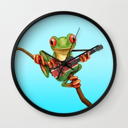 Tree Frog Playing Acoustic Guitar with Flag of Kenya Wall Clock