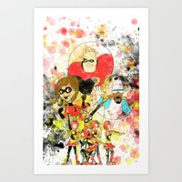 pixar Art Prints featuring Disney Pixar Play Parade - Incredibles Unit by Joey Noble
