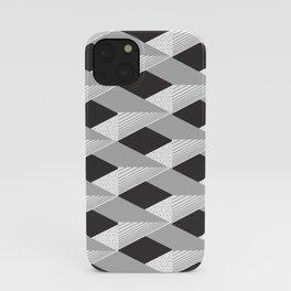 3d Shapes decor 7. minimalist. line. grey. silver. black. white. iPhone Case
