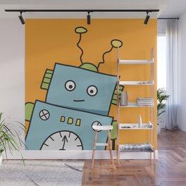 Friendly Blue Robot Wall Mural